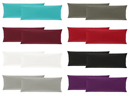 Doppelpack Baumwolle Renforcé Kissenbezug, Kissenbezüge, Kissenhüllen für Seitenschläferkissen 40x145 cm in 8 Modernen Farben Grau
