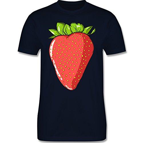 Shirtracer Statement Shirts - Erdbeere - Herren T-Shirt Rundhals Navy Blau