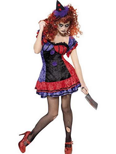 Zirkus Sinister Kostüm - Luxuspiraten - Damen Frauen Zirkus Sinister BO BO Clown Kostüm mit kurzem Kleid und Hut perfekt für Karneval, Fasching und Fastnacht, rot, schwarz,, M, Violett