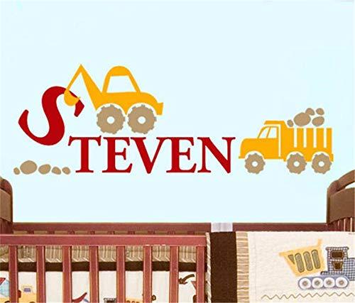 Wandaufkleber Schlafzimmer Bau Truck personalisierte Name Aufkleber Kinderzimmer Jungen Aufkleber für Kinderzimmer
