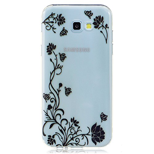 Samsung Galaxy A7 2017 Hülle Case, Cozy Hut® [Flower Series] Ultra Dünn [Crystal Case] Transparent Soft-Flex Handyhülle / Bumper-Style Premium-TPU Silikon / Perfekte Passform / Kratzfest Schutzhülle für Samsung Galaxy A7 2017 Case, Samsung Galaxy A7 2017 Cover, Galaxy A7 2017 Case, Galaxy A7 2017 Cover, A7 2017 Case, A7 2017 Cover - Schwarze Blume Reben