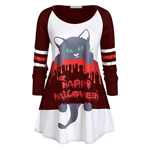 Xmiral Bluse Damen Lange Ärmel Rundhals Tops Halloween Drucken Sweatshirts Hohe Taille Lustig Festival T-Shirts Pullover(a Rot,L)