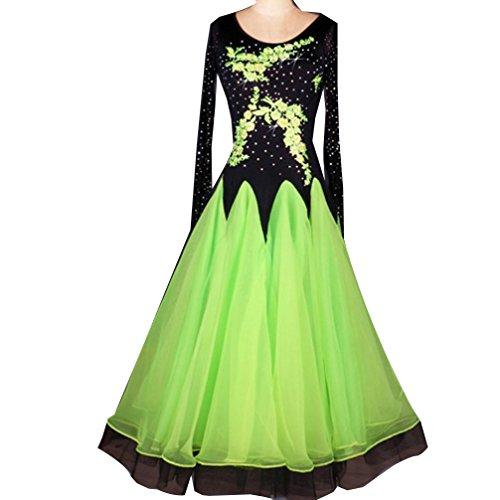 Modern Dance Kleid für Frauen Professionel Ballroom Dance Kostüme Große Schaukel Performance Kleidung Mesh-Ärmel Tango Rock mit gesticktem Strass, Green, - Professionelle Jazz Dance Kostüm