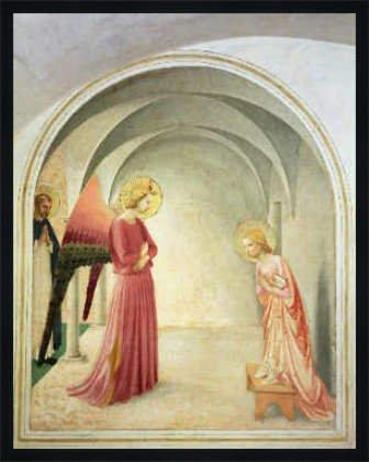 Bild mit Rahmen: Fra Angelico, 'The Annunciation, 1442', 63 x 80 - Holz Fortuna L: Schwarz matt