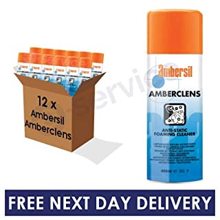 12 x Ambersil Amberclens Anti Static Foaming Cleaner 400ml BULK BOX CASE DISCOUNT