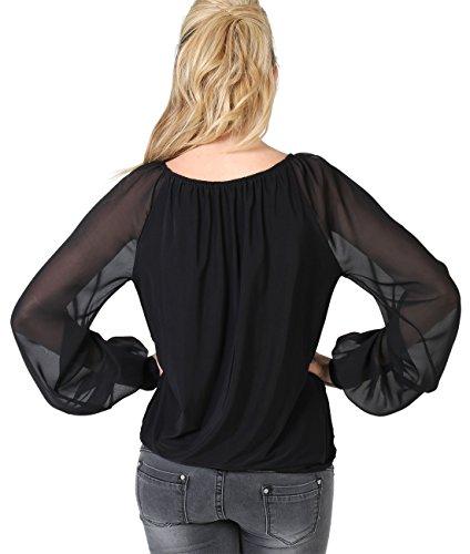 Damen Elegante Bluse Fledermaus Ärmel Oberteil Top Große Größen 36 - 46 Schwarz 6058