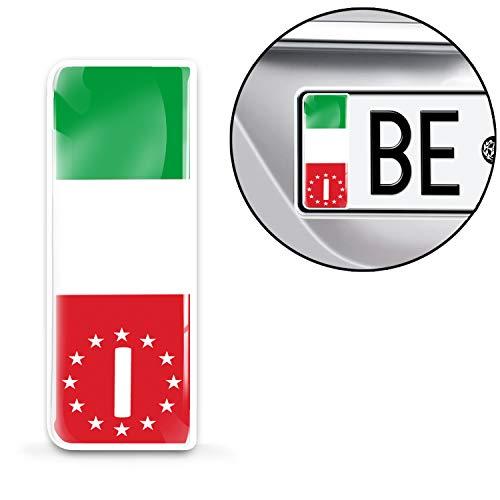 Skino 2 x Adesivi Resinati 3D Gel per Targa Stickers Auto Motociclo Tuning Bandiera Italia Europa Identificazione Europeo QS 20