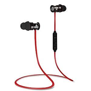 EC Technology Bluetooth 4.1 In-Ear-Kopfhörer Sport Headset mit Mikrofon & Stereo & Magnet -Rot / Schwarz
