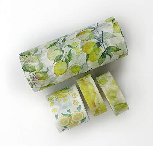 Washi Tape Lemon Print 3 Rollen Inkl. extra breitem 100mm Klebeband. für Scrapbooks, Wal Paper Bordüren, Basteln, Dekorieren, Geschenkpapier