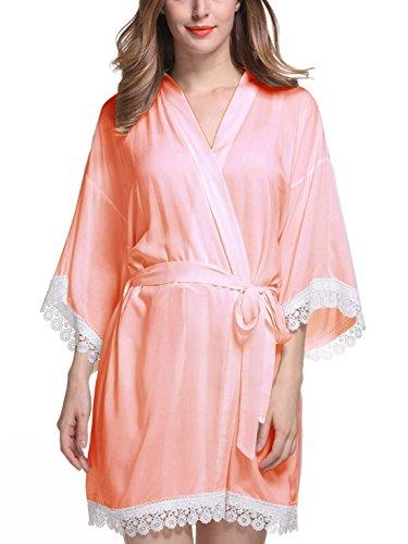 Feoya - Femme Robe de Chambre avec Dentelle Manches 3/4 - Chemise de Nuit Femme Courte - 9 Couleurs Couleur 1
