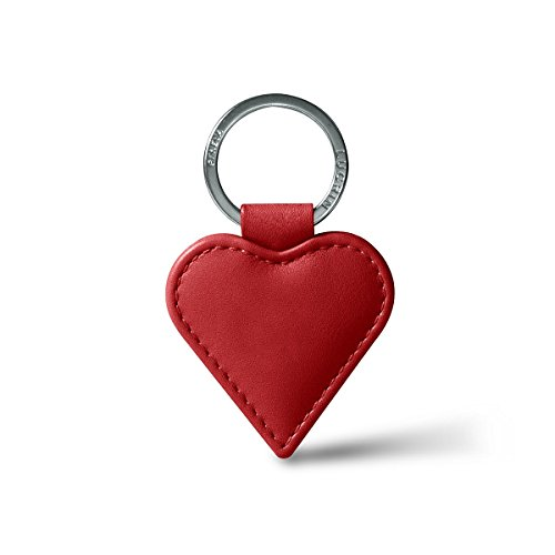 Lucrin - portachiavi a cuore - argento - rosso - pelle liscia
