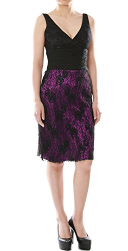 MACloth Women V Neck Short Lace Mother of Bride Dress Cocktail Formal Gown Fuchsia - Black