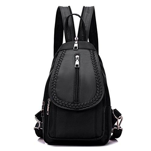BUKUANG Trend Nylon Schulter Diagonal Multifunktionshandtasche Schultertasche Brust Praktische Handtaschen,Black Black
