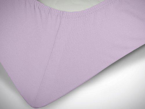 npluseins klassisches Jersey Spannbetttuch - erhältlich in 34 modernen Farben und 6 verschiedenen Größen - 100% Baumwolle, 90-100 x 200 cm, flieder - 6