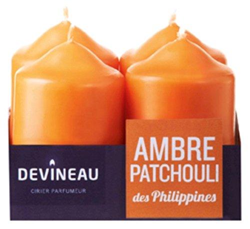 DEVINEAU 1606924 Bougie Petit Modèle Ambre Patchouli des Philippines Orange Lot de 4