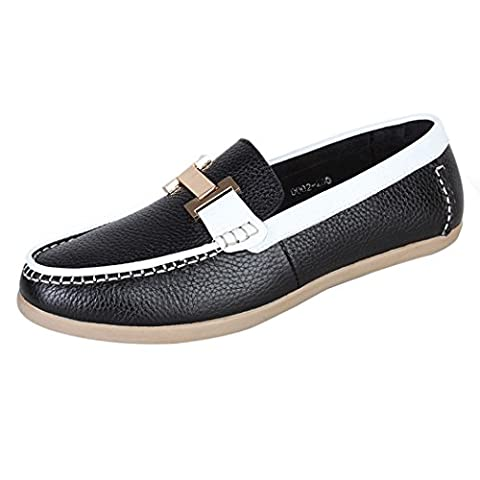 WALK-LEADER Mens Causal Leather Soft Slip On Loafers Deck Boat