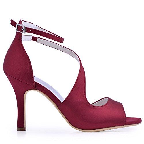 ElegantPark HP1505 Escarpins Femme Bout Ouvert Diamant Btide Cheville Boucle Sandales Chaussures de mariee Bal Satin Burgundy