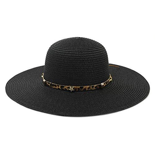 AnazoZ Damen Strohhut Strandhut Breite Krempe Sommerhut Sonnenhut Elegant Sonnenschutz Hut UV Schutz Damen Mode Hut Strand Hüte Schwarz A106