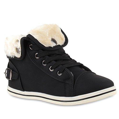 Stiefelparadies Warm Gefütterte Sneakers Damen Sneaker High Kunstfell Winter Gesteppte Winter Sport Schnürer Übergrößen Schuhe 110034 Schwarz 38 Flandell