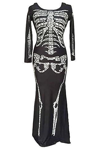 r-dessous Skelett Kleid lang Damen Kostüm schwarz Halloween Knochenkleid Tod Zombie Horror Karneval Fasching Groesse: