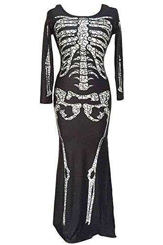 r-dessous Skelett Kleid lang Damen Kostüm schwarz Halloween Knochenkleid Tod Zombie Horror Karneval Fasching Groesse: (Kostüme Skelett)