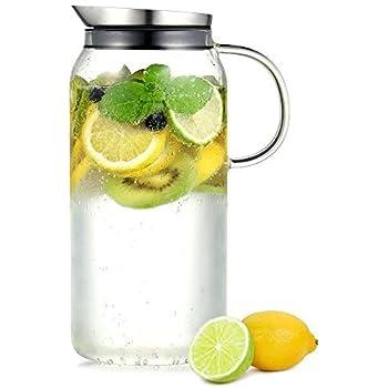 ecooe glaskaraffe 1 5 liter volle kapazit t glaskrug aus borosilikatglas wasserkrug mit. Black Bedroom Furniture Sets. Home Design Ideas