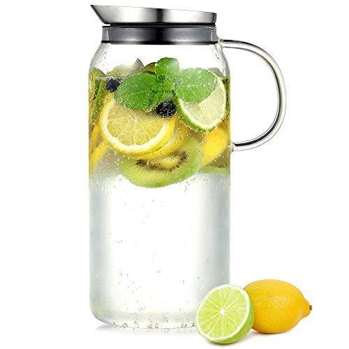 Ecooe Glaskaraffe 1,5 Liter (Volle Kapazität) Glaskrug aus Borosilikatglas Wasserkrug mit Edelstahl Deckel Karaffe Glaskanne