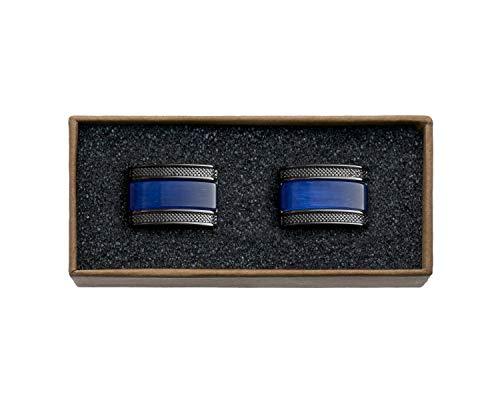VALDERO® Herren Manschettenknöpfe - Men\'s Essentials in Box (Blau Perlmutt Schwarz) (1 Paar - Gun Black Metall, Blauer Stein)