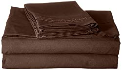 Jessica Sanders Premier 1800 Series 4pc Bed Sheet Set - Full (Double), Chocolate Brown,  - Jessica Sanders Embroidery