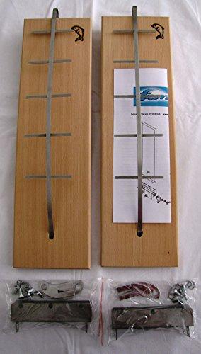 Flammlachsbretter 2er-Set Buchenholz mit Branding u. Halterungen für Tundra Grill oder Feuerschale