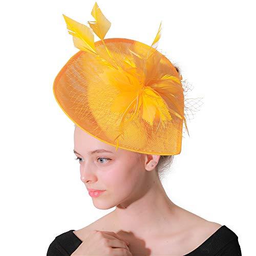NQN Sinamay Fascinators für Frauen, Lady Flowers Mesh Federschmuck, Kentucky Derby Hat, Hochzeitskirche Bridal Cocktail Headwear