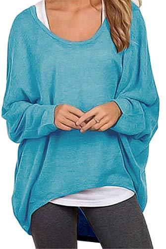 Meyison Damen Lose Asymmetrisch Sweatshirt Pullover Bluse Oberteile Oversized Tops T-Shirt Blau XXL
