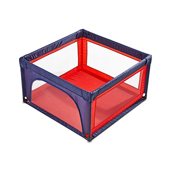 Playpens Extra Large Baby Play Yard for Kids/Toddler, Safety Portable Playard Children's Game Fence, 70cm Height, Red and Blue (Size : 120×150cm) Playpens  1