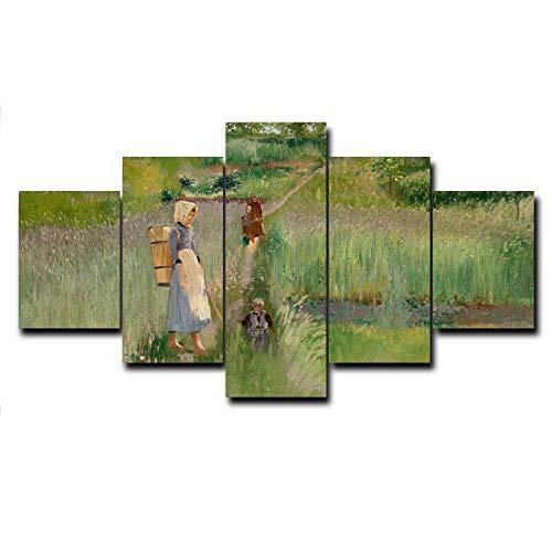 HXZFF Quadro 150x80 cm 5 Pezzi Stampa su Tela in Immagini Moderni Murale Fotografia Grafica Decorazione da Parete AstrattoPittura a Olio cont