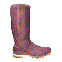 SUPGOD P345 Pink Smiley Faces Funky Womens Ladies Girls Wellies Wellie Boots Rain Snow Sizes 3, 4, 5, 6, 6.5 & 7 Winter Cold Outdoor *UK SELLER*