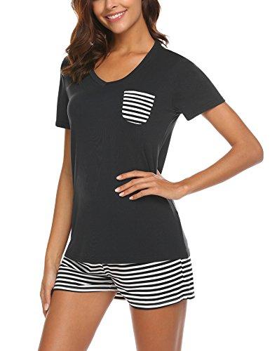 UNibelle Damen Schlafanzug Pyjama Shorty Mit Shorts & Shirt Sommerlicher Nachthemd mit Taschen Nachtwäsche Kurzarm Sleepwear, A-schwarz, L