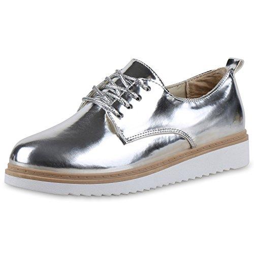 Damen Halbschuhe Dandy Style Brogues Profilsohle High Fashion Silber Silber