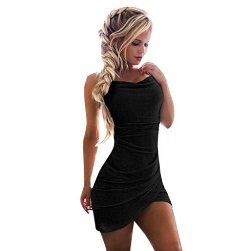 KIMODO Damen Kleider Einfarbig Paillette Kleider Passen Schlank Minikleid Schlinge Ärmellos Verein Partykleid Sexy Sommer Abendkleid Drape Applique