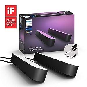 Philips Hue White and Color Ambiance Play Lightbar Doppelpack, dimmbar, bis zu 16 Millionen Farben, steuerbar via App, kompatibel mit Amazon Alexa, schwarz