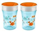 NUK 10255333 Magic Cup 250ml mit Trinkrand, Motiv Krabben, hellblau, 2er Pack (2 Stück)