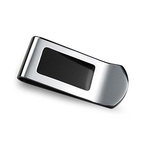 Bling Jewelry Zwei Ton Schwarzer Emaille Inlay Gravierbaren Geld Clip Für Herren Kreditkarteninhaber Geschenk Für Vater Edelstahl -