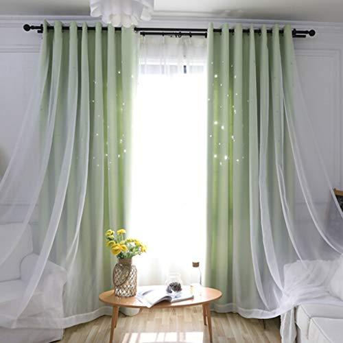 YANQ Vorhänge Alle Blackout Doppelschicht Hohl Stern Tuch Garn EIN Schlafzimmer Wohnzimmer Vorhang Tuch Dunkelblau Tuch + Garn Eins (2 Panels) (Farbe : Grün, größe : 200cm*270cm) - Zwei Vorhänge Panel-grüne