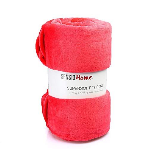Sensio casa Super suave polar manta [200x 200cm] ilumina tu sofá, sofá o cama con tres colores a elegir, microfibra, rosa (b), 200 x 200 cm