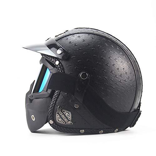 Chitty Motorrad Retro Helm Maske Ritter Ausrüstung Schutzausrüstung Leder Persönlichkeit Helm Mode Harley Helm - Persönlichkeit Schwarze Flecken sicher (Size : M) -