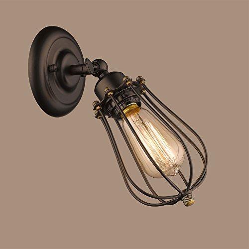 CLAXY Wandleuchten Vintage E27 Wandlampe Drahtkäfig Cage Schwenkbar (ohne Bulb)