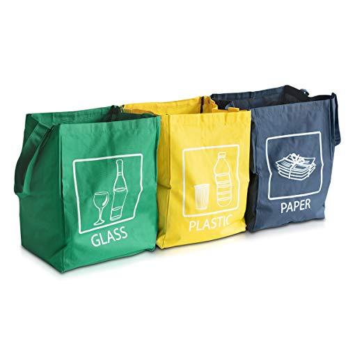 Navaris Set de Bolsas para Reciclaje - 3 Bolsas de Basura para Reciclar Vidrio Papel y plástico - Contenedor...