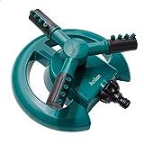 KUAYI Garden Sprinkler,3 Nozzles Lawn Sprinklers, 360°Automatic Rotating Water Sprinkler System