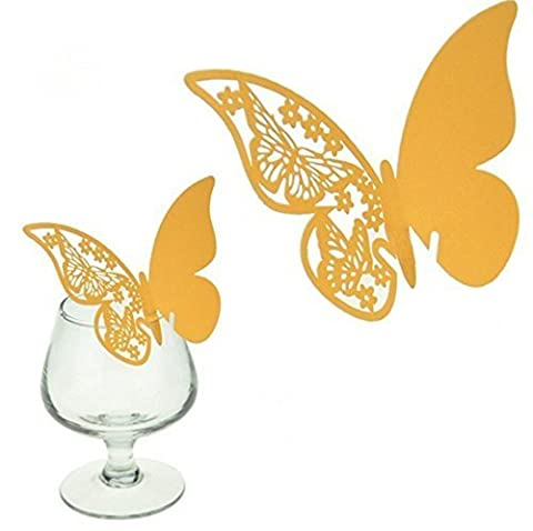 DIKETE® 50pcs Butterfly Place Cards Party Wedding Wine Glass Cup Decoration card [3D] [Hollow Pattern] (Bianco Della Carta Dell'invito)
