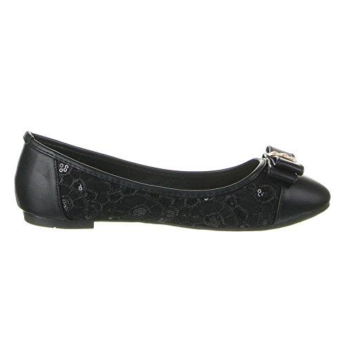 Damen Schuhe BALLERINAS STRASS DEKO HALBSCHUHE Farben: Creme Schwarz Rosa Weiß Größen: 36 37 38 39 40 41 Schwarz