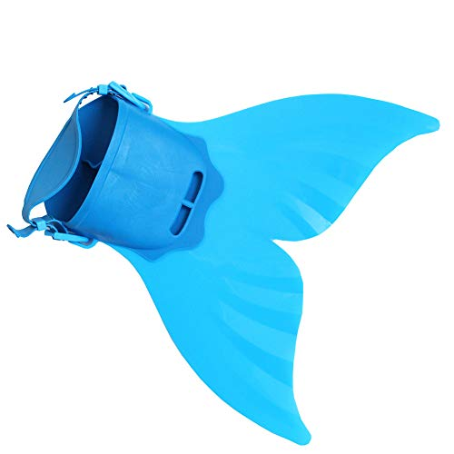 iSpchen Kinder Mädchen Junge Flossen Tauchen Mermaid Tails Monofin Schwimmen Nette Fischschwanzform Flossen Einstellbar für Kinder Kind Schwimmen Kostüm EINWEG Blau